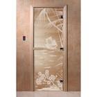 Дверь «Голубая лагуна», размер коробки 190 × 70 см, левая, цвет прозрачный