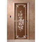 Дверь «Розы», размер коробки 200 × 80 см, правая, цвет бронза