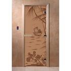 Дверь «Голубая лагуна», размер коробки 190 × 70 см, левая, цвет матовая бронза