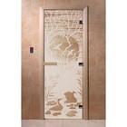 Дверь «Лебединое озеро», размер коробки 190 × 70 см, левая, цвет сатин