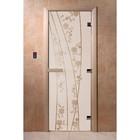 Дверь «Весна цветы», размер коробки 200 × 80 см, левая, цвет сатин