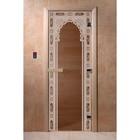Дверь «Восточная арка», размер коробки 190 × 70 см, левая, цвет бронза