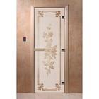 Дверь «Розы», размер коробки 200 × 80 см, правая, цвет сатин