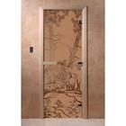 Дверь «Мишки», размер коробки 190 × 70 см, правая, цвет матовая бронза