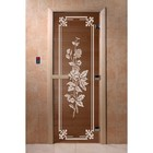 Дверь «Розы», размер коробки 200 × 80 см, левая, цвет бронза
