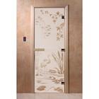 Дверь «Камышевый рай», размер коробки 190 × 70 см, правая, цвет сатин