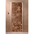 Дверь «Девушка в цветах», размер коробки 200 × 80 см, левая, цвет бронза