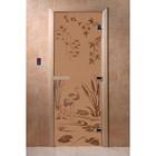 Дверь «Камышовый рай», размер коробки 190 × 70 см, правая, цвет матовая бронза