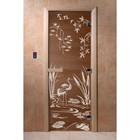 Дверь «Камышевый рай», размер коробки 190 × 70 см, левая, цвет бронза