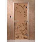 Дверь «Камышовый рай», размер коробки 190 × 70 см, левая, цвет матовая бронза