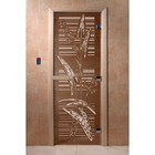 Дверь «Листья», размер коробки 200 × 80 см, левая, цвет бронза