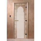 Дверь «Восточная арка», размер коробки 190 × 70 см, левая, цвет сатин