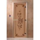 Дверь «Розы», размер коробки 190 × 70 см, правая, цвет матовая бронза