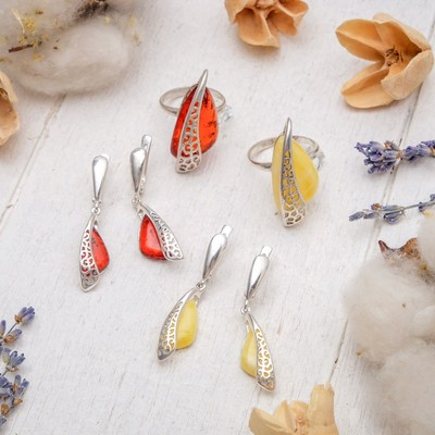 """Set silver plated 2 pieces: earrings, ring """"amber"""" carved insert, color MIX size 18"""