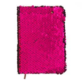 Записная книжка подарочная формат А6, 80 листов, линия, Пайетки двухцветные малиновые-золото