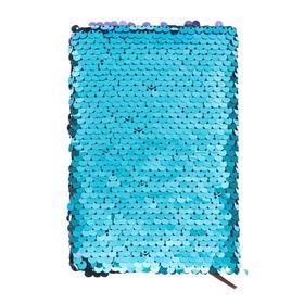 Записная книжка подарочная формат А6, 80 листов, линия, Пайетки двухцветные бирюза-сирень