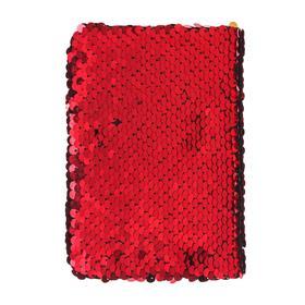Записная книжка подарочная формат А6, 80 листов, линия, Пайетки двухцветные красно-золотистые