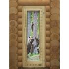 Дверь элит люкс с рисунком «Мишки» с вентиляцией, коробка 185 × 73 см, правая
