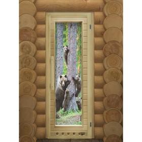 """Дверь для бани со стеклом """"Мишки. Элит"""", 190×80см, с вентиляцией, левое открывание"""