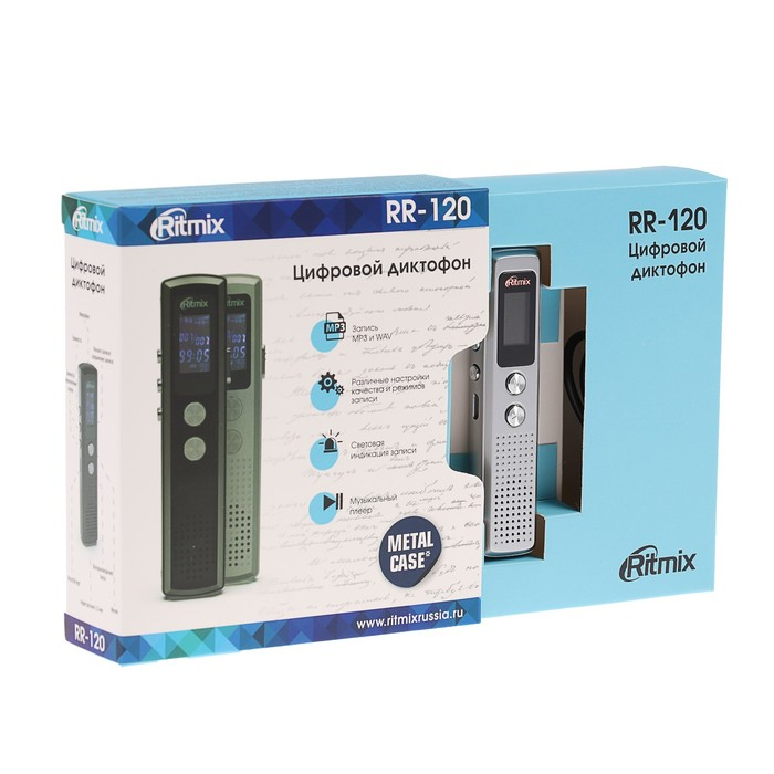 Диктофон RITMIX RR-120 Silver, 4 Гб, MP3, микрофон, дисплей - фото 537386696