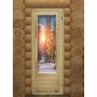 Дверь элит с рисунком «Зима» с вентиляцией, размер коробки 185 × 73 см, левая