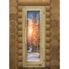 Дверь элит люкс с рисунком «Зима» с вентиляцией, коробка 185 × 73 см, левая