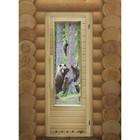 """Дверь для бани со стеклом """"Мишки"""", 185×73см, с вентиляцией, левое открывание"""
