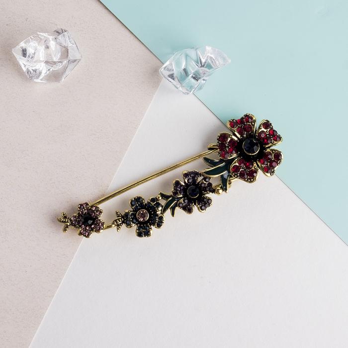 """Булавка """"Цветы"""" 8см, цвет красно-фиолетовый в черненом кофейном золоте - фото 329125814"""
