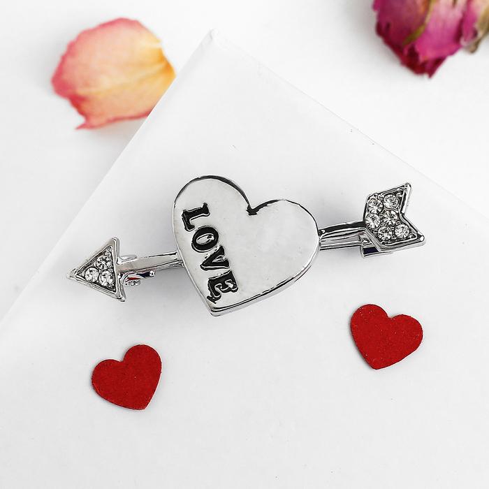 """Брошь """"Сердце со стрелой"""" love, цвет белый в серебре"""