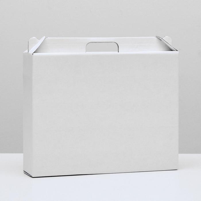 Коробка универсальная с ручкой, белая, 34,5 х 8 х 27 см