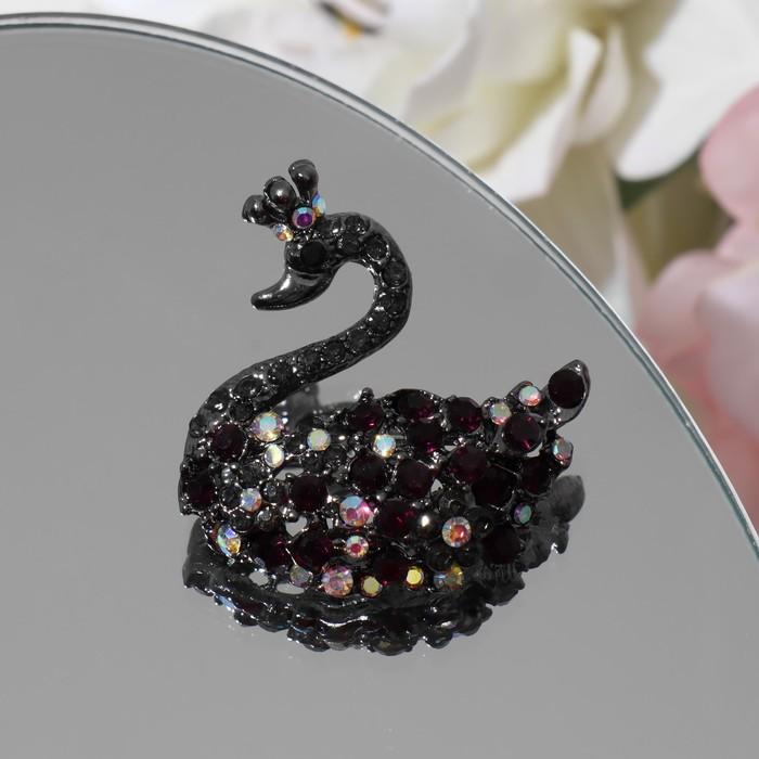 """Брошь """"Царевна-Лебедь"""", разноцветная в черненом серебре"""