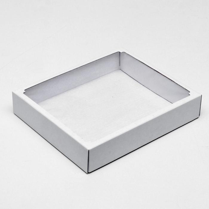Коробка сборная без печати крышка-дно белая с окном 37 х 32 х 7 см