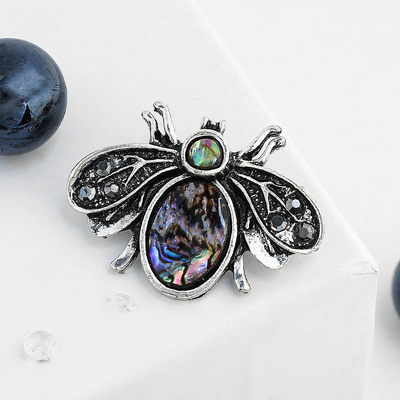 """Brooch """"Abalone"""" fly in nielloed silver"""