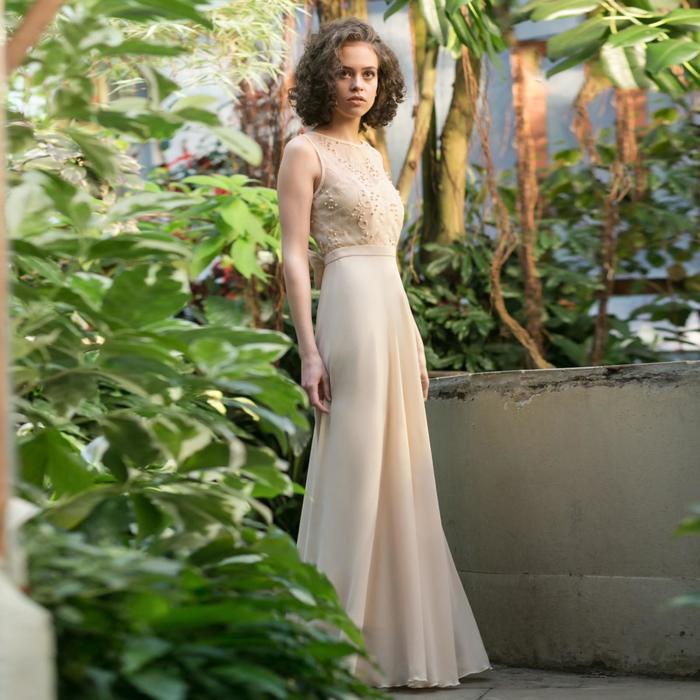 """Платье женское MINAKU """"Bella"""", длинное, размер 46, цвет бежевый - фото 726795760"""