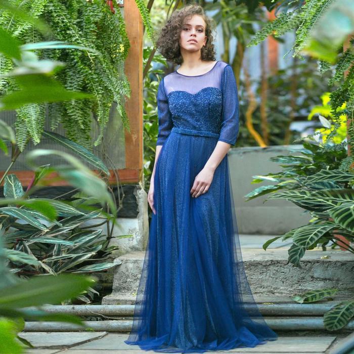 """Платье женское MINAKU """"Dolce"""", длинное, размер 42, цвет тёмно-синий"""