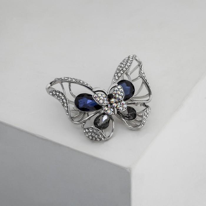 """Брошь """"Бабочка"""" двойная, цвет серо-синий в серебре - фото 240531424"""