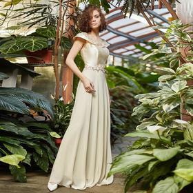 """Платье женское MINAKU """"Felice"""", длинное, размер 42, цвет бежевый"""
