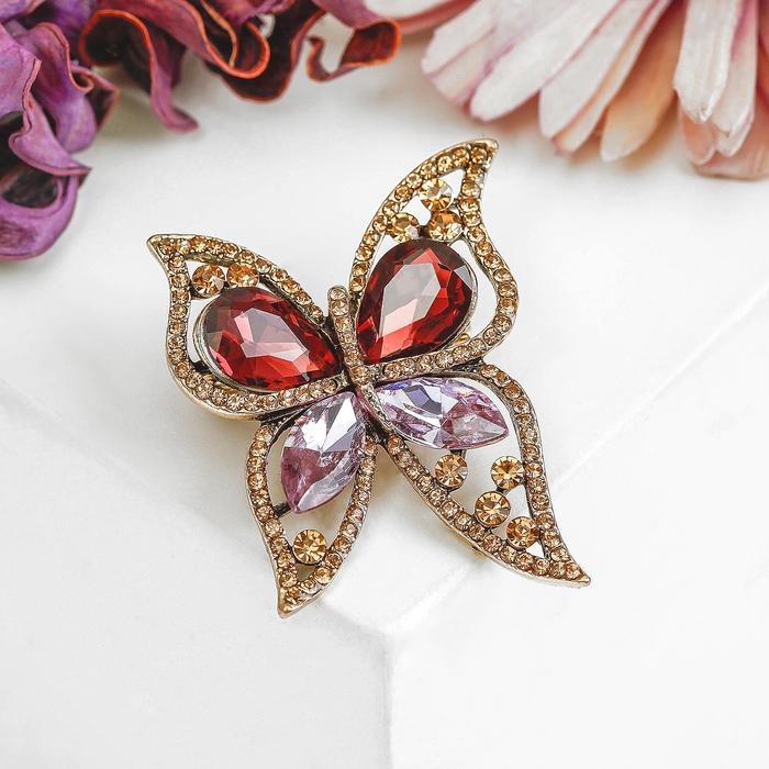 """Брошь """"Бабочка"""" осень, цветная в черненом золоте - фото 234153095"""