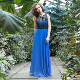 """Платье женское MINAKU """"Bella"""", длинное, размер 42, цвет синий/чёрный"""