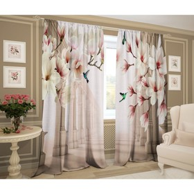 A set of curtains Dreamers 147x267 +/- 3cm 2pcs, gabardine, plastic