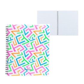 Тетрадь А5+, 60 листов в клетку, на гребне, Erich Krause Lines, пластиковая обложка