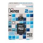 Карта памяти Mirex microSD, 2 Гб, с адаптером, SDHC, класс 4