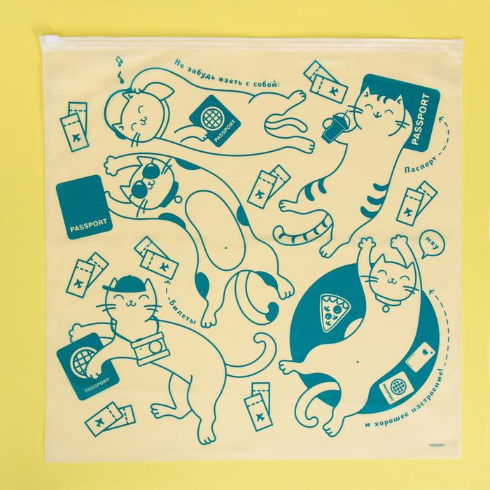 Пакет-слайдер матовый с принтом «Котики путешественники», 40 × 40 см - фото 7048