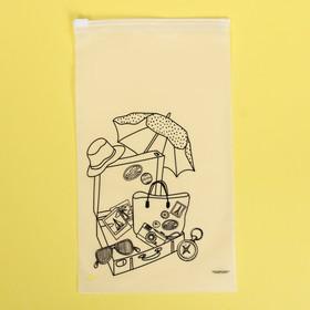 Пакет-слайдер матовый с принтом «В отпуск!», 14.5 × 25 см