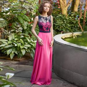 """Платье женское MINAKU """"Bella"""", длинное, размер 42, цвет розовый/чёрный"""