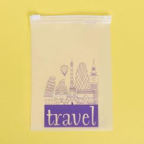 Пакет-слайдер матовый с принтом Travel, 9 × 16 см
