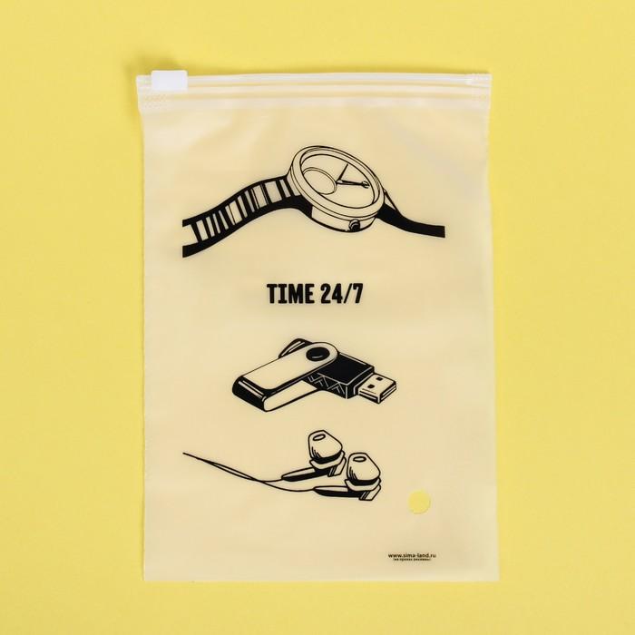 Пакет-слайдер матовый с принтом Time 24/7, 9 × 16 см - фото 7124