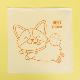 Пакет-слайдер матовый с принтом Best friends, 40 × 40 см