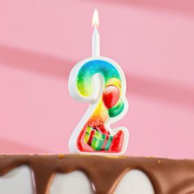 """Свеча для торта цифра """"Подарок""""  2"""