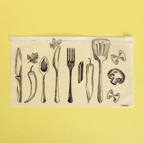 Пакет-слайдер матовый с принтом «Шедевры кулинарии», 25 × 14.5 см